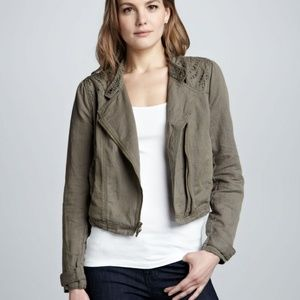 Free People army green crop cut out moto jacket
